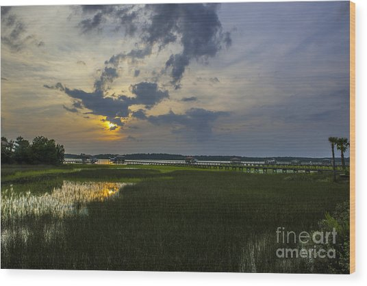 Sunset Over The Wando Wood Print