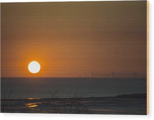 Sunset Over The Windfarm Wood Print