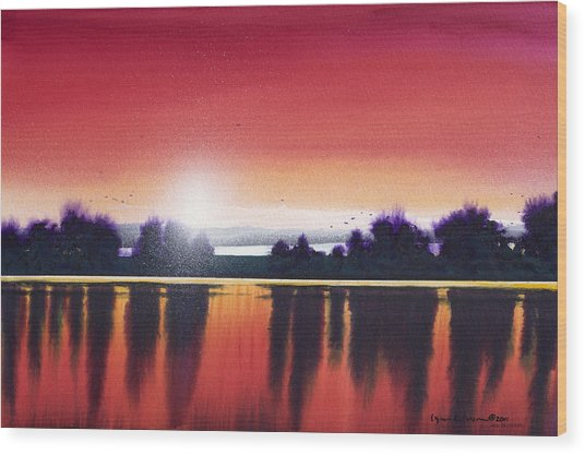 Sunset Over Two Lakes Wood Print