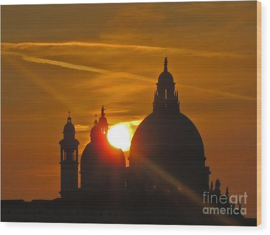 Sunset Over Venice Wood Print