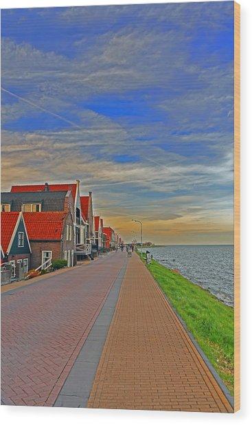 Sunset Over Volendam Wood Print