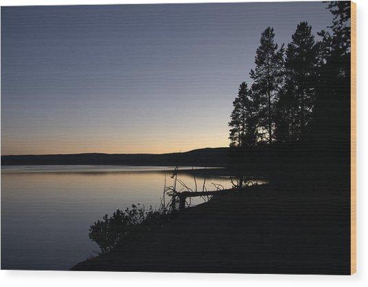Sunset Over Yellowstone Lake Wood Print