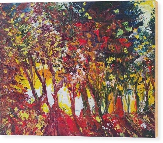 Sunset Painting Oil Fine Art Ekaterina Chenrova Wood Print