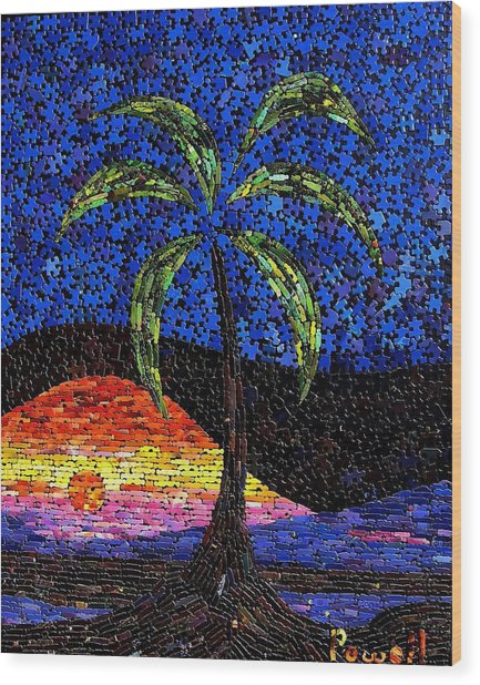 Sunset Palm Wood Print