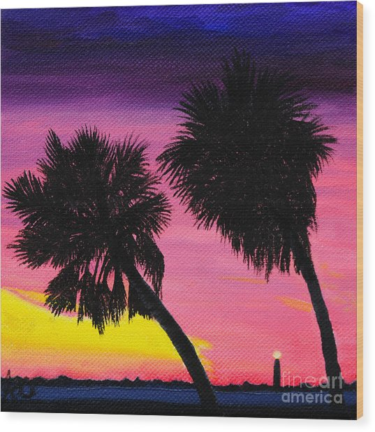 Sunset Palms At Fort Desoto Wood Print