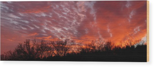 Sunset Panorama Wood Print