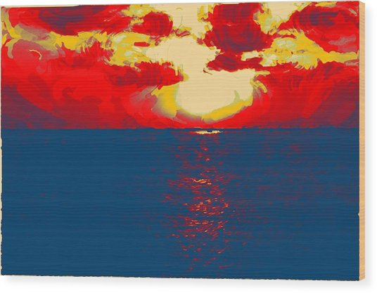 Sunset Paradise Wood Print by Peter Waters