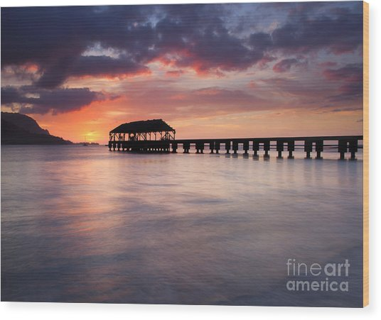 Sunset Pier Wood Print