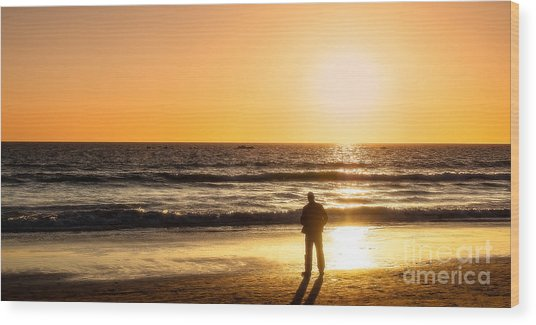 Sunset Pondering Wood Print