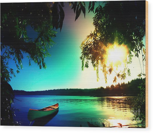 Sunset Rainbow At Kenmore Washington Wood Print