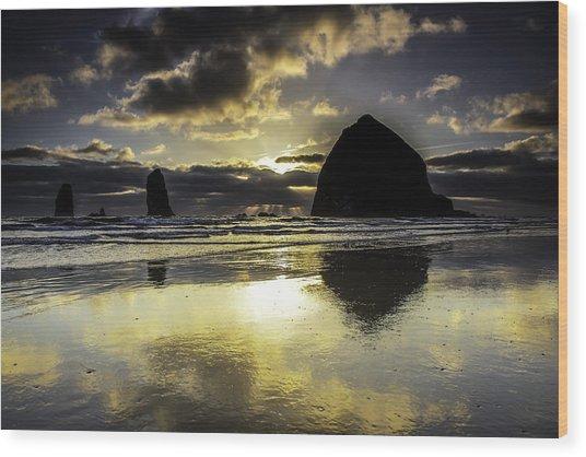 Sunset Reflected Wood Print