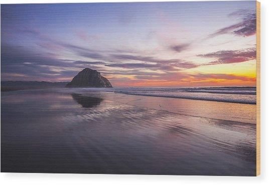 Sunset Reflections At Morro Bay Beach Rock Fine Art Photography Print Wood Print