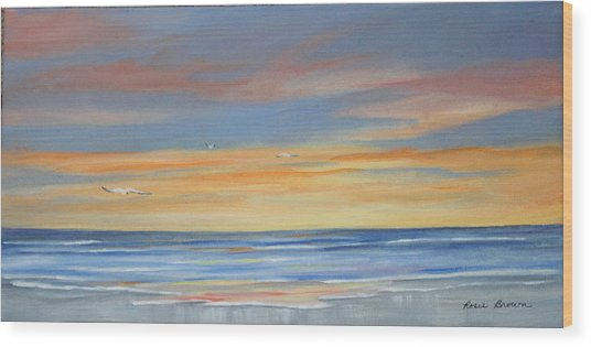 Sunset Reflections - Beach Sand Waves Wood Print by Rosie Brown