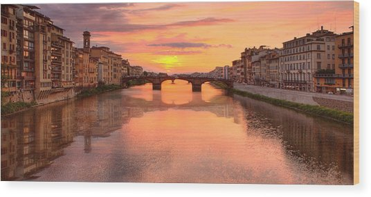 Sunset Reflections In Florence Italy Wood Print