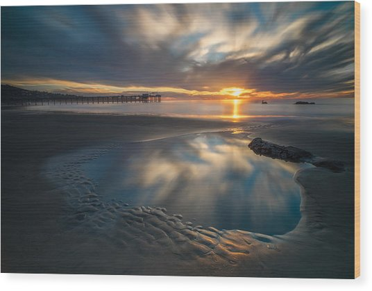 Sunset Reflections In San Diego Landscape Version Wood Print