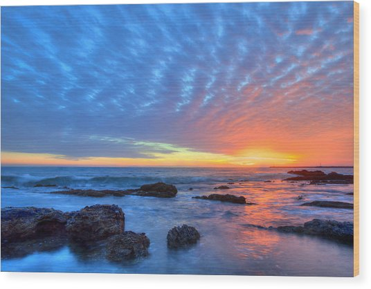 Sunset Reflections Newport Beach Wood Print