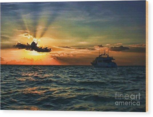 Sunset Regatta  Wood Print