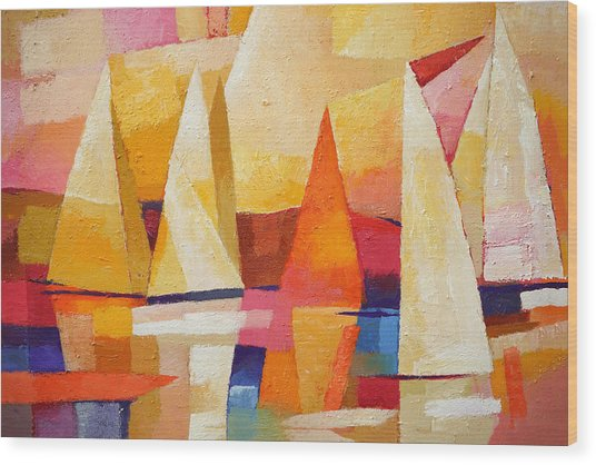 Sunset Regatta Wood Print