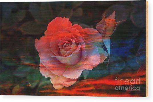 Sunset Rose Wood Print