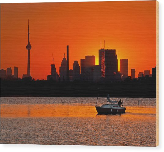 Sunset Sail Ashbridges Bay Toronto Canada Wood Print