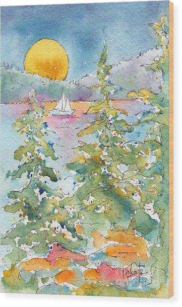 Sunset Sail On Waskesiu Lake Wood Print