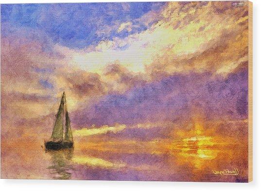 Sunset Sail Wood Print by Wayne Pascall