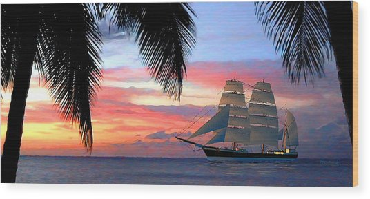 Sunset Sailboat Filtered Wood Print