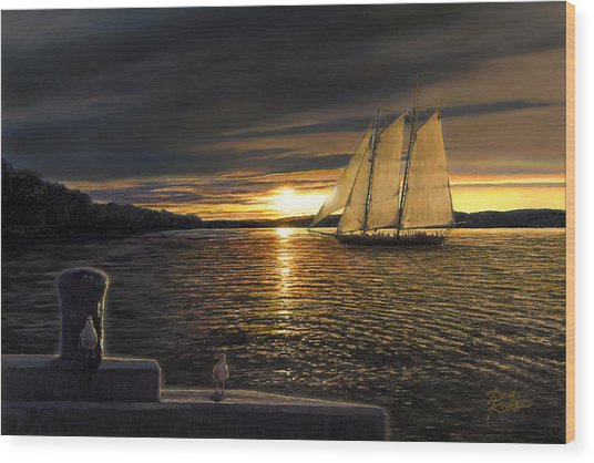 Sunset Sails Wood Print