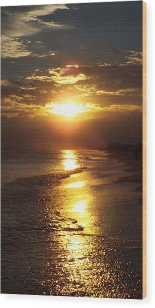 Sunset  Sand  Waves Wood Print