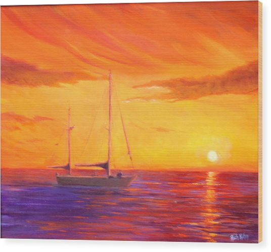 Sunset Ship Wood Print by Rich Kuhn