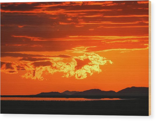 Sunset Sky Fire Wood Print by Kirk Strickland