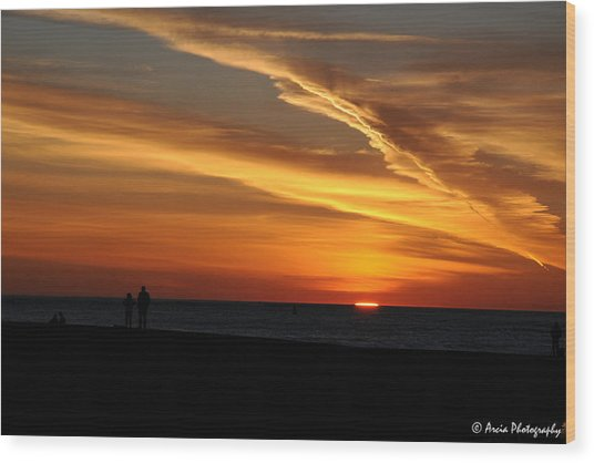 Sunset Sliver Wood Print