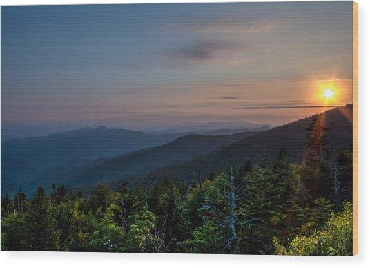 Sunset Smokey Mountains  Wood Print