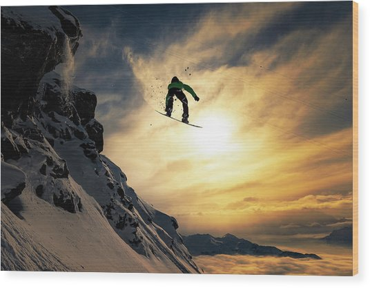 Sunset Snowboarding Wood Print