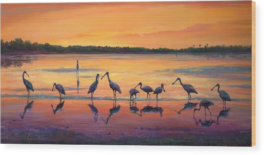 Sunset Spoonbills Wood Print