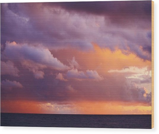 Sunset Storm Wood Print