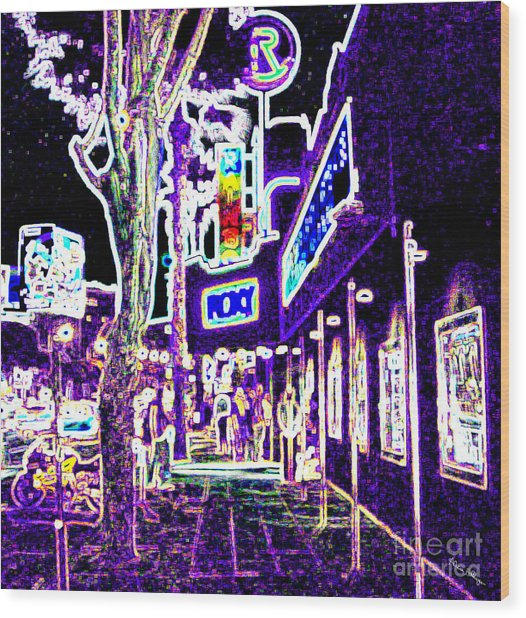 Sunset Strip - Black Light Psychedelic Wood Print