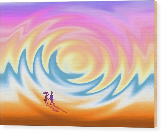 Sunset Stroll On A Windy Beach Wood Print
