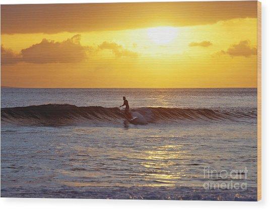 Sunset Surf Maui Wood Print