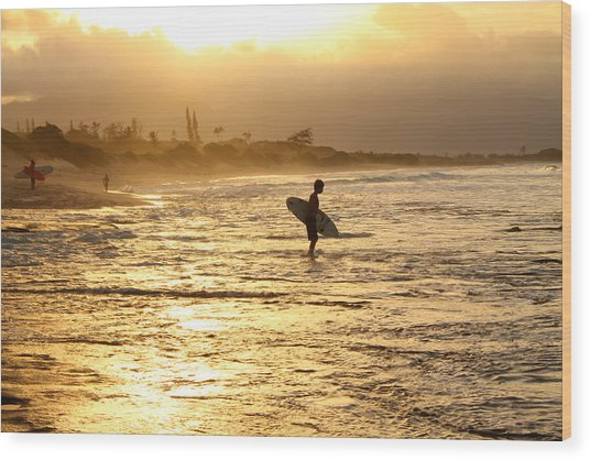 Sunset Surf Session Wood Print