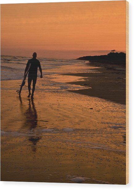 Sunset Surfer Hilton Head Sc Wood Print