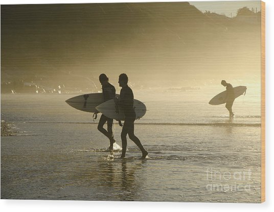 Sunset Surfers Biarritz Wood Print