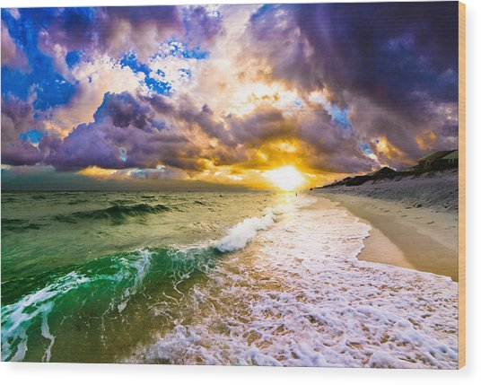 Sunset Through Breaking Wave-landscape-sea And Dark Cloud Wood Print