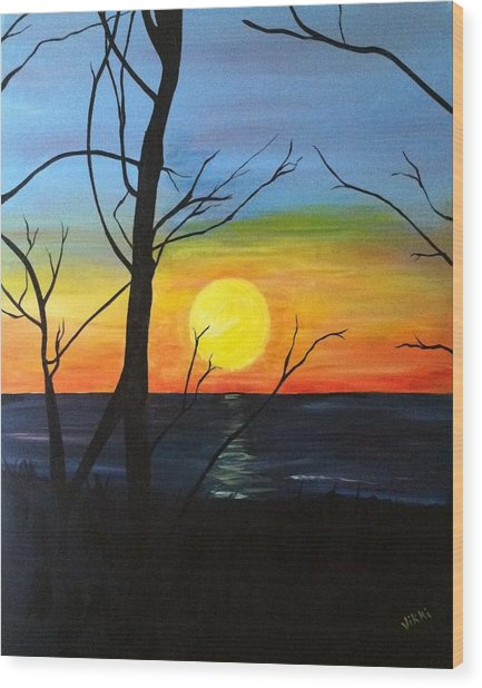 Sunset Through The Branches Wood Print