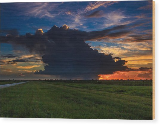 Sunset Through The Rain Wood Print