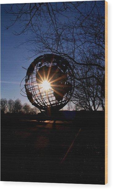 Sunset Through The Unisphere Wood Print