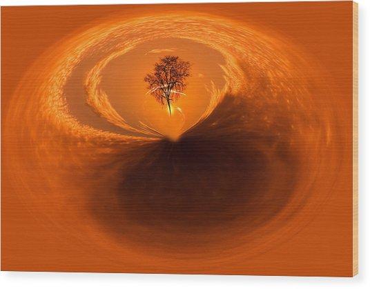 Sunset Tree Artwork Wood Print