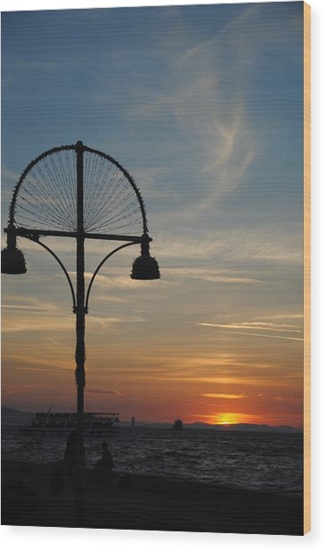 Sunset View From Kordon - Izmir Wood Print by Jacqueline M Lewis