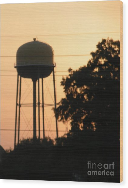 Sunset Water Tower Wood Print