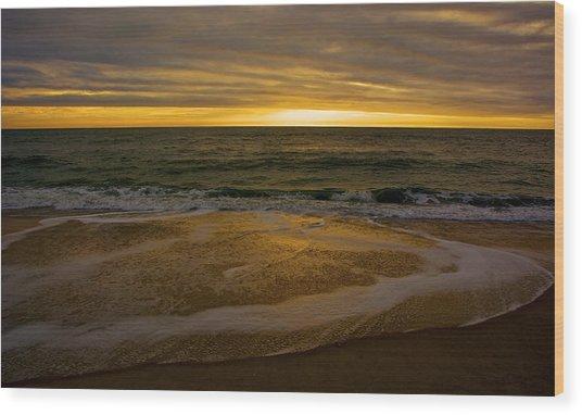 Sunset Waves Wood Print by Kathi Isserman